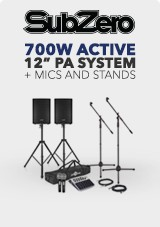 700W 12' Active PA System with Mics and Stands
